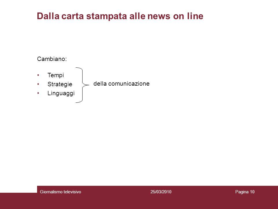 Dalla carta stampata alle news on line Giornalismo televisivoPagina 1025/03/2010 Cambiano: Tempi Strategie Linguaggi della comunicazione