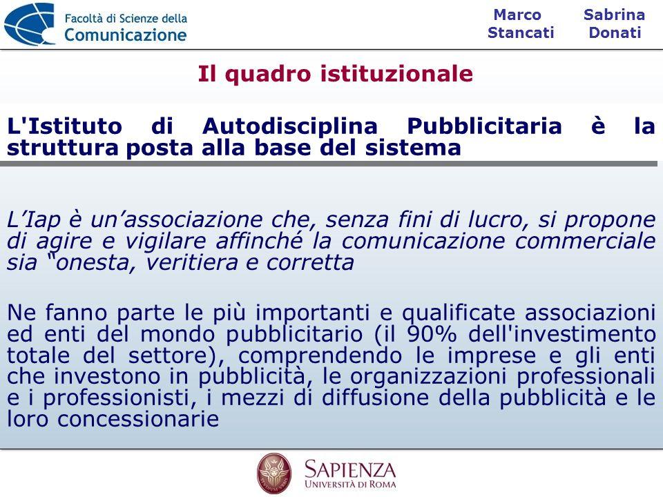 Sabrina Donati Marco Stancati L'Istituto di Autodisciplina Pubblicitaria è la struttura posta alla base del sistema Ne fanno parte le più importanti e