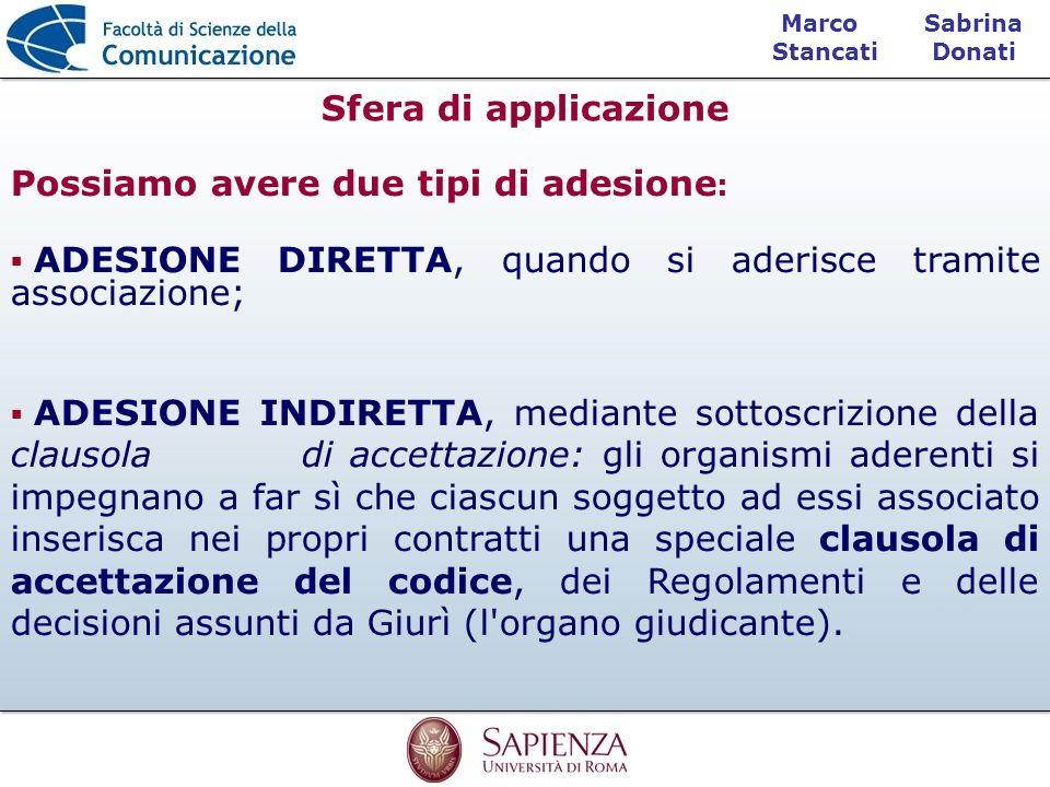 Sabrina Donati Marco Stancati Sfera di applicazione Possiamo avere due tipi di adesione : ADESIONE DIRETTA, quando si aderisce tramite associazione; A