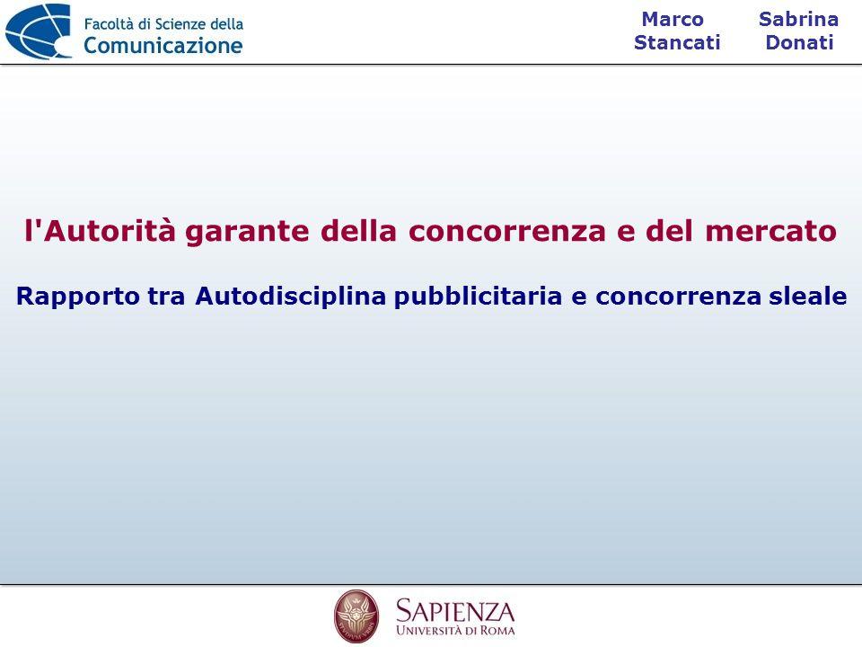 Sabrina Donati Marco Stancati l'Autorità garante della concorrenza e del mercato Rapporto tra Autodisciplina pubblicitaria e concorrenza sleale