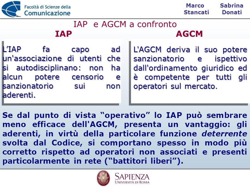 Sabrina Donati Marco Stancati IAP e AGCM a confronto LIAP fa capo ad un'associazione di utenti che si autodisciplinano: non ha alcun potere censorio e