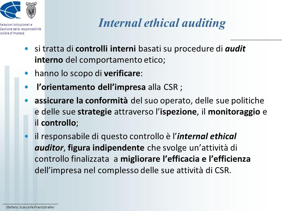 ____________________________ Stefano Scarcella Prandstraller Relazioni istituzionali e Gestione della responsabilità sociale dimpresa Internal ethical