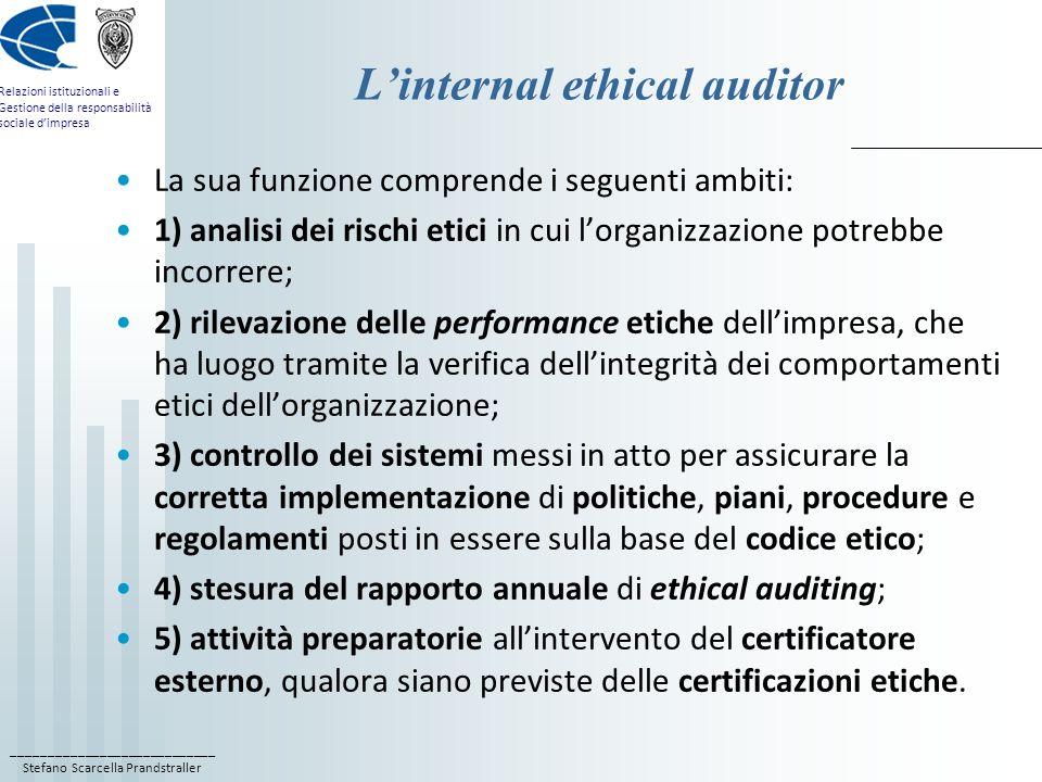 ____________________________ Stefano Scarcella Prandstraller Relazioni istituzionali e Gestione della responsabilità sociale dimpresa Linternal ethica
