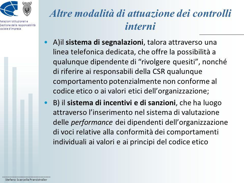 ____________________________ Stefano Scarcella Prandstraller Relazioni istituzionali e Gestione della responsabilità sociale dimpresa Altre modalità d