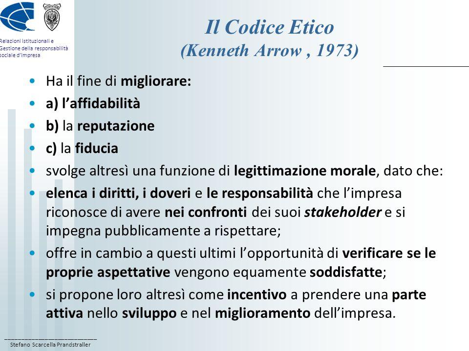 ____________________________ Stefano Scarcella Prandstraller Relazioni istituzionali e Gestione della responsabilità sociale dimpresa Codice etico e bilancio sociale Il Codice Etico è laltra faccia del Bilancio Sociale; dalla missione aziendale hanno origine due diversi ordini di attività: a) uno più generale, rivolto al controllo delle politiche dimpresa e alla corporate governance (il Bilancio Sociale); c) laltro ai comportamenti individuali (il Codice Etico); può definirsi come la Carta Costituzionale dellimpresa, una carta dei diritti e doveri morali che definisce la responsabilità etico-sociale di ogni partecipante allorganizzazione.