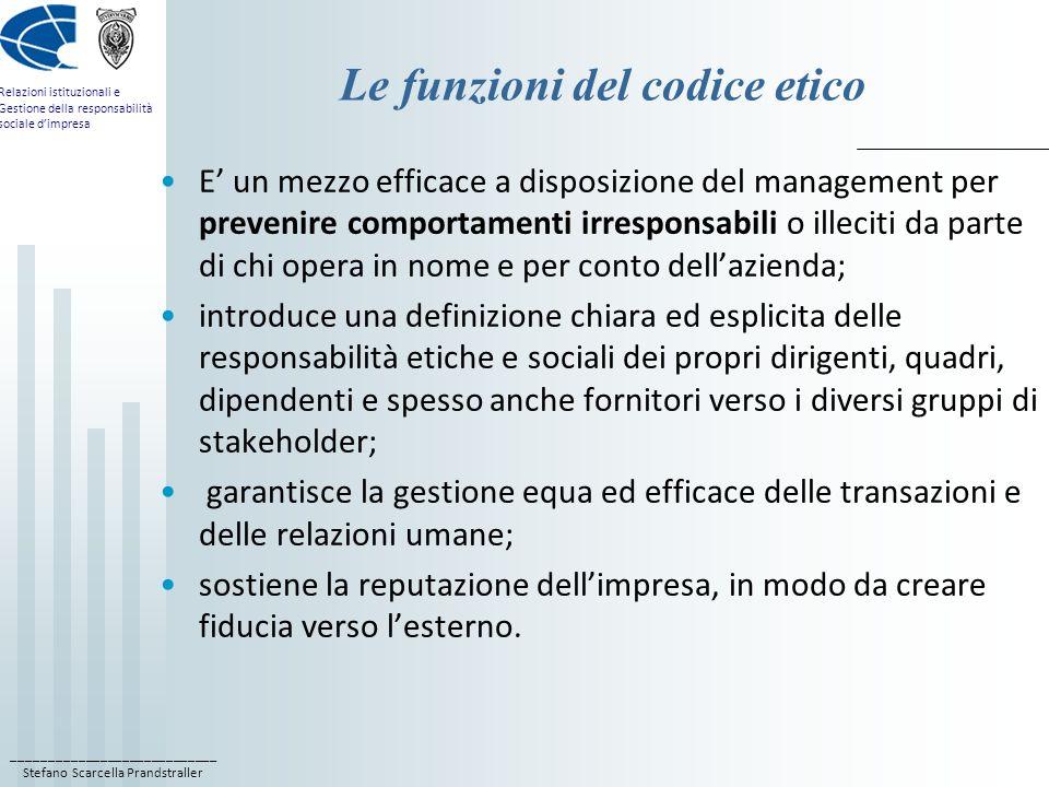 ____________________________ Stefano Scarcella Prandstraller Relazioni istituzionali e Gestione della responsabilità sociale dimpresa Le funzioni del