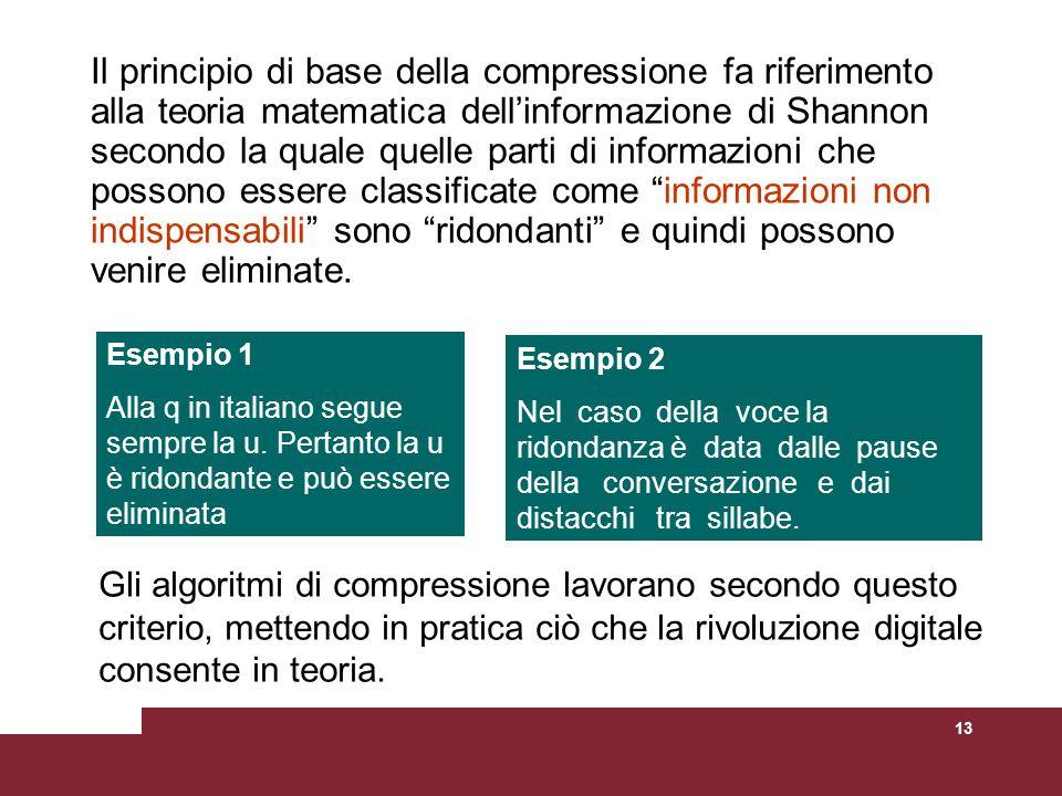 13 Il principio di base della compressione fa riferimento alla teoria matematica dellinformazione di Shannon secondo la quale quelle parti di informaz