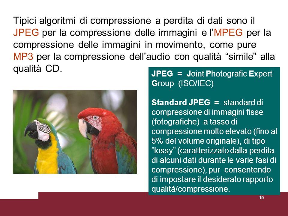 15 Tipici algoritmi di compressione a perdita di dati sono il JPEG per la compressione delle immagini e lMPEG per la compressione delle immagini in mo