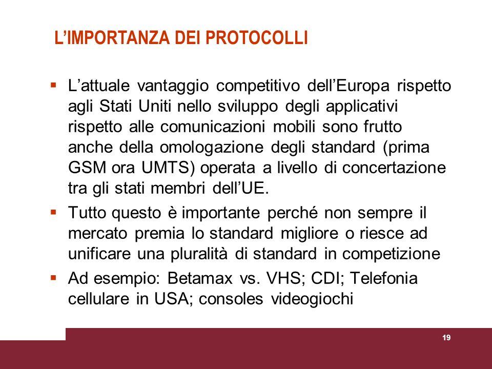 19 Lattuale vantaggio competitivo dellEuropa rispetto agli Stati Uniti nello sviluppo degli applicativi rispetto alle comunicazioni mobili sono frutto