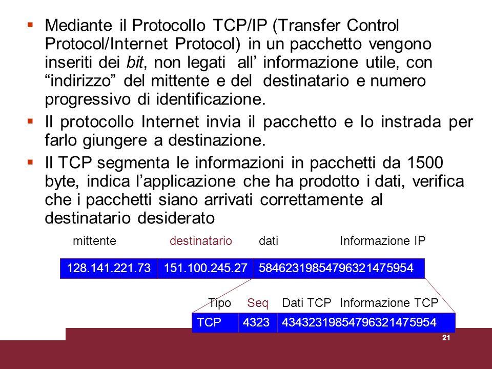 21 Mediante il Protocollo TCP/IP (Transfer Control Protocol/Internet Protocol) in un pacchetto vengono inseriti dei bit, non legati all informazione u