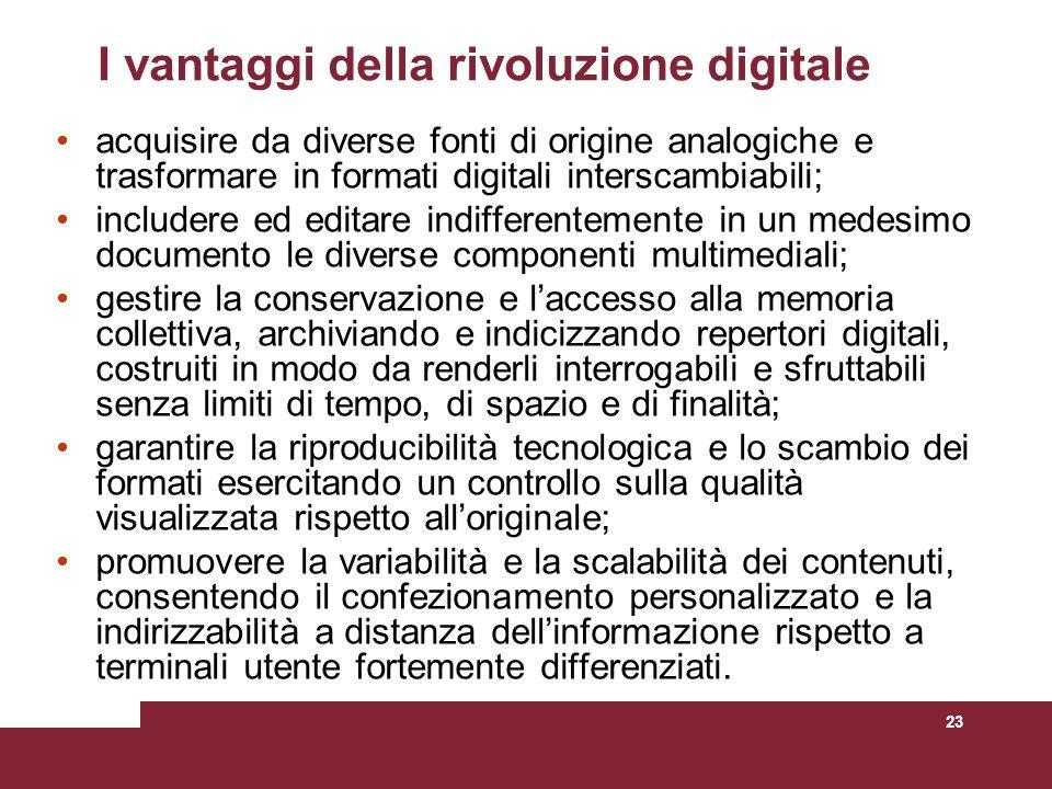 23 I vantaggi della rivoluzione digitale acquisire da diverse fonti di origine analogiche e trasformare in formati digitali interscambiabili; includer
