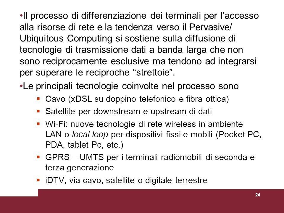 24 Il processo di differenziazione dei terminali per laccesso alla risorse di rete e la tendenza verso il Pervasive/ Ubiquitous Computing si sostiene