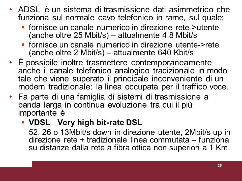 25 ADSL è un sistema di trasmissione dati asimmetrico che funziona sul normale cavo telefonico in rame, sul quale: fornisce un canale numerico in dire