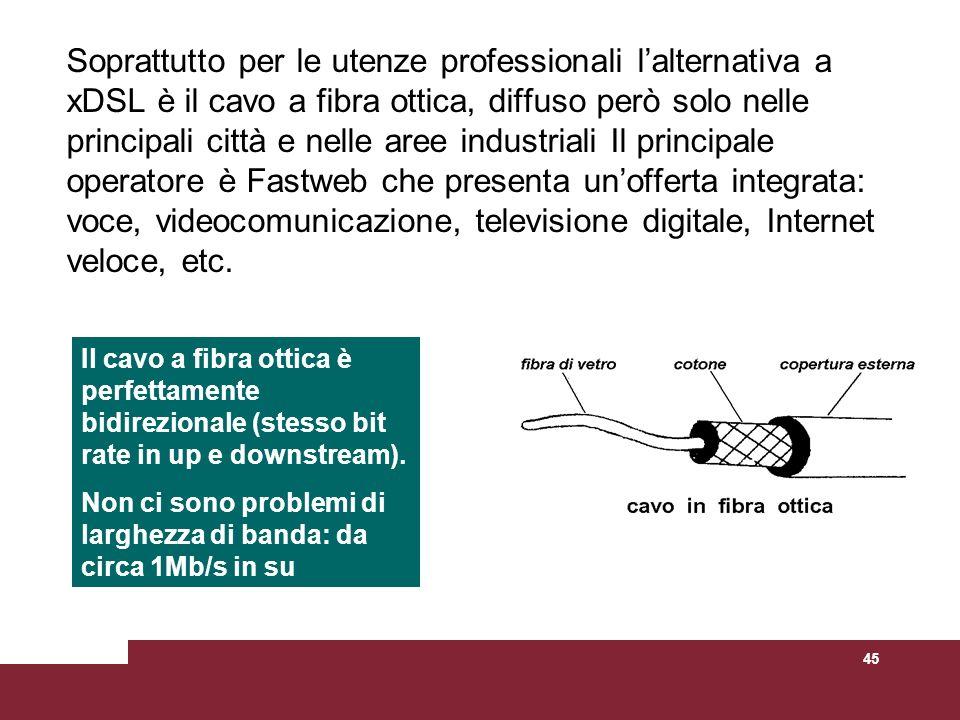 45 Soprattutto per le utenze professionali lalternativa a xDSL è il cavo a fibra ottica, diffuso però solo nelle principali città e nelle aree industr