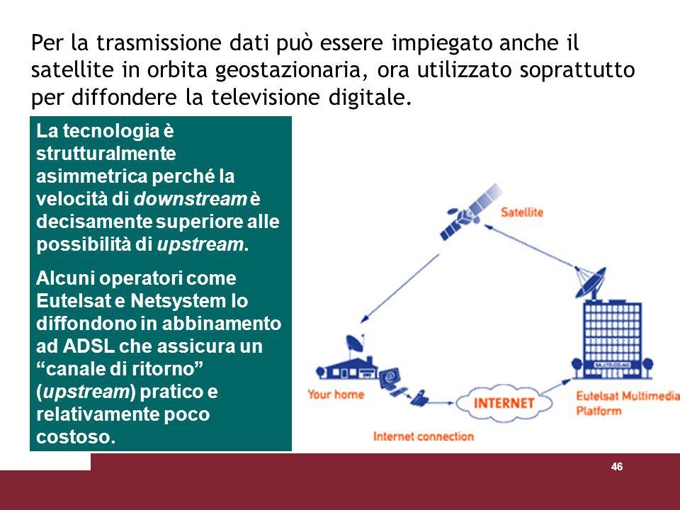 46 Per la trasmissione dati può essere impiegato anche il satellite in orbita geostazionaria, ora utilizzato soprattutto per diffondere la televisione