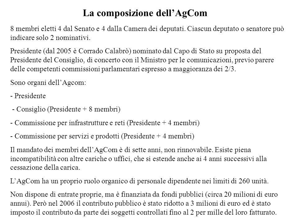 La composizione dellAgCom 8 membri eletti 4 dal Senato e 4 dalla Camera dei deputati. Ciascun deputato o senatore può indicare solo 2 nominativi. Pres