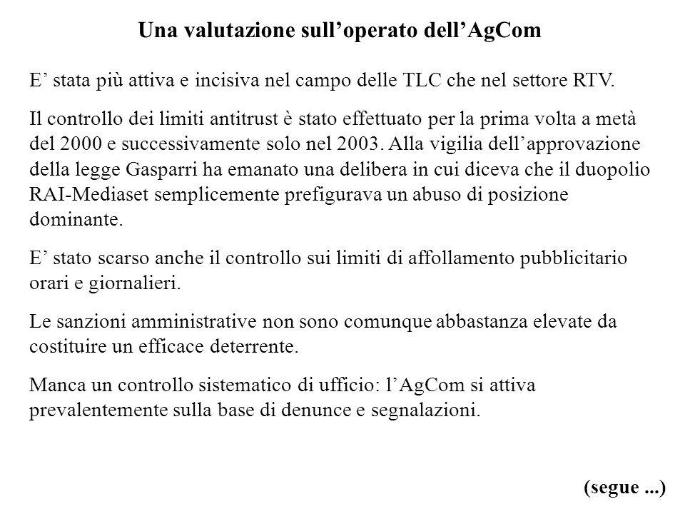 Una valutazione sulloperato dellAgCom E stata più attiva e incisiva nel campo delle TLC che nel settore RTV. Il controllo dei limiti antitrust è stato