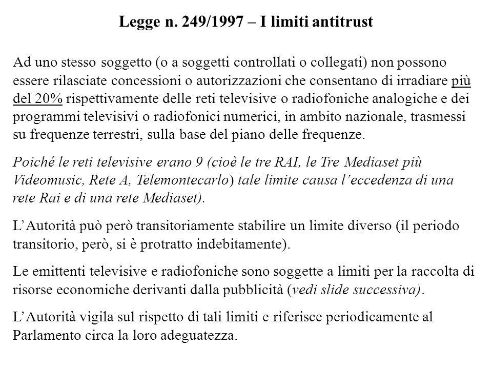 Legge n. 249/1997 – I limiti antitrust Ad uno stesso soggetto (o a soggetti controllati o collegati) non possono essere rilasciate concessioni o autor