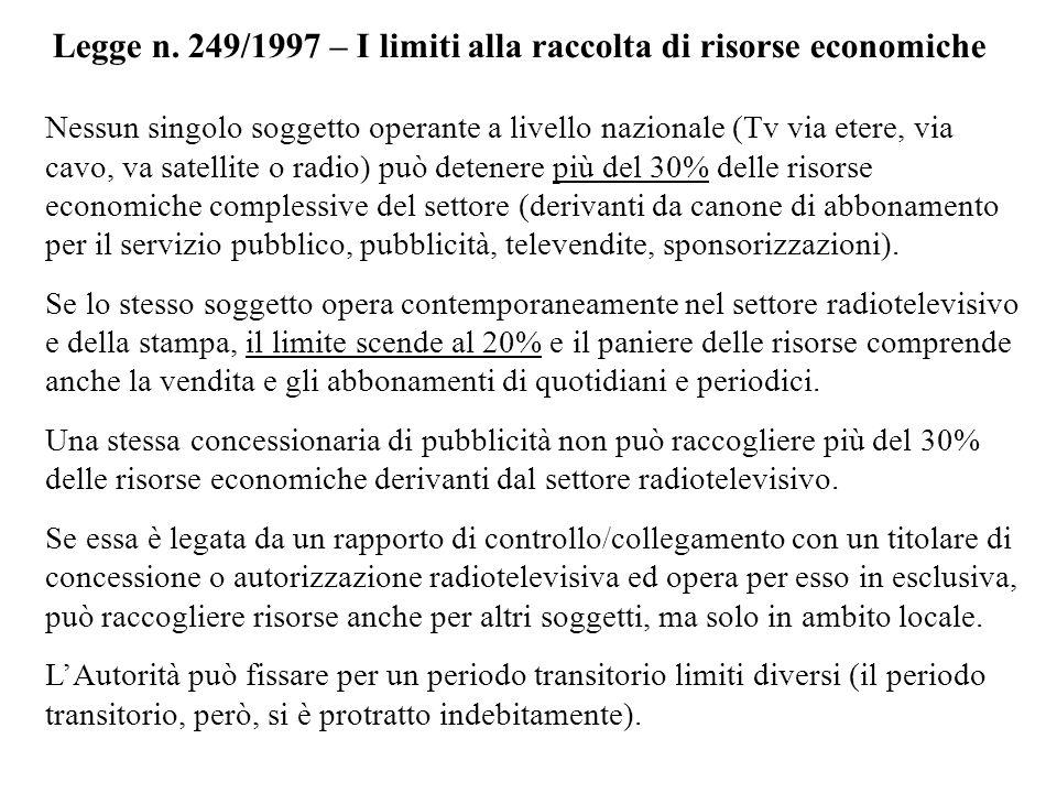 Legge n. 249/1997 – I limiti alla raccolta di risorse economiche Nessun singolo soggetto operante a livello nazionale (Tv via etere, via cavo, va sate