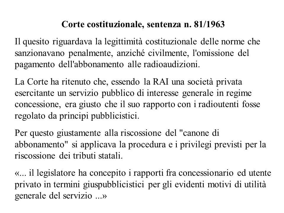 Corte costituzionale, sentenza n. 81/1963 Il quesito riguardava la legittimità costituzionale delle norme che sanzionavano penalmente, anziché civilme