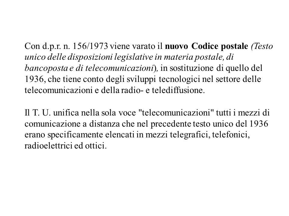Con d.p.r. n. 156/1973 viene varato il nuovo Codice postale (Testo unico delle disposizioni legislative in materia postale, di bancoposta e di telecom