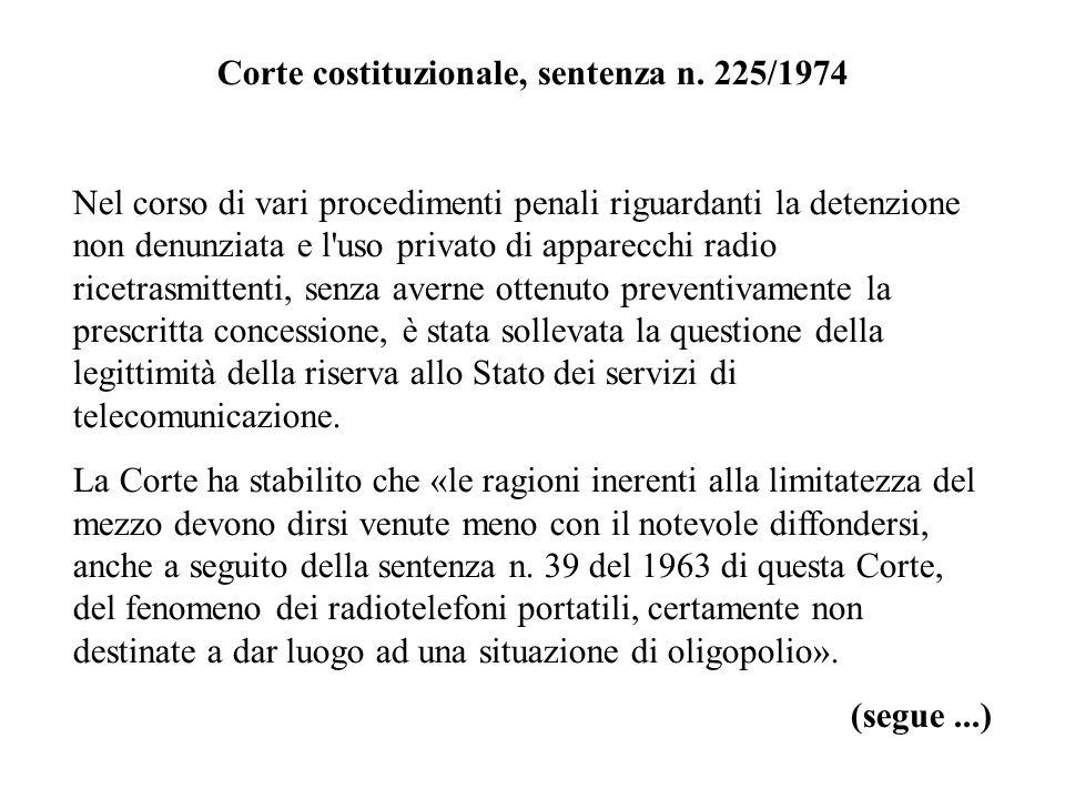Corte costituzionale, sentenza n. 225/1974 Nel corso di vari procedimenti penali riguardanti la detenzione non denunziata e l'uso privato di apparecch