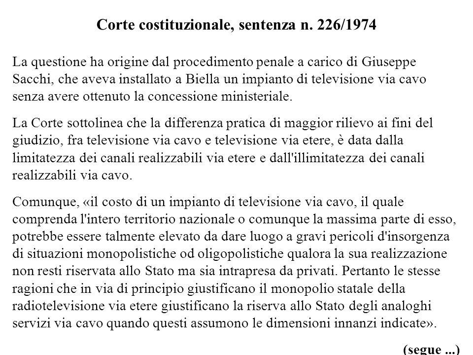 Corte costituzionale, sentenza n. 226/1974 La questione ha origine dal procedimento penale a carico di Giuseppe Sacchi, che aveva installato a Biella