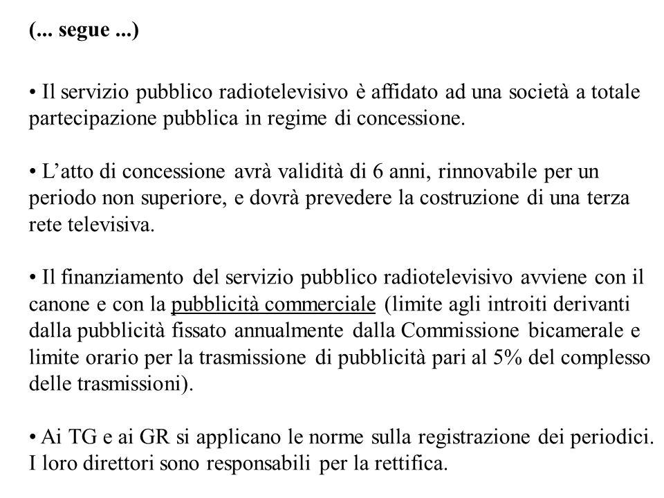 (... segue...) Il servizio pubblico radiotelevisivo è affidato ad una società a totale partecipazione pubblica in regime di concessione. Latto di conc
