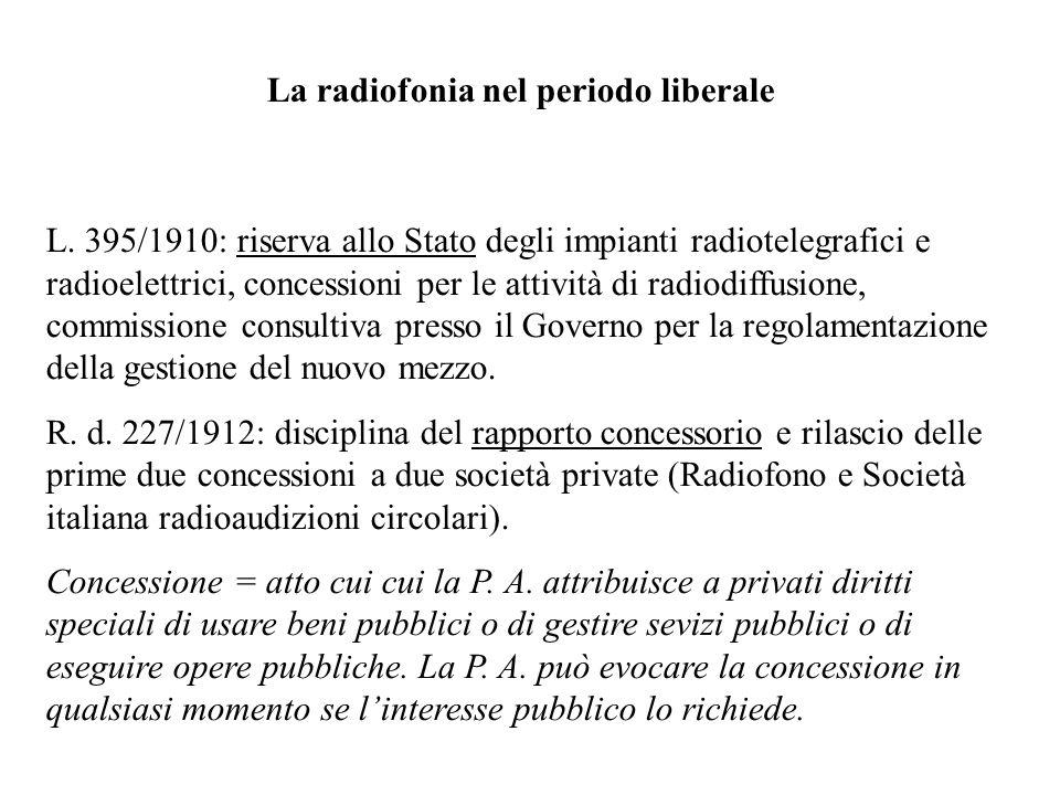 La radiofonia nel periodo liberale L. 395/1910: riserva allo Stato degli impianti radiotelegrafici e radioelettrici, concessioni per le attività di ra