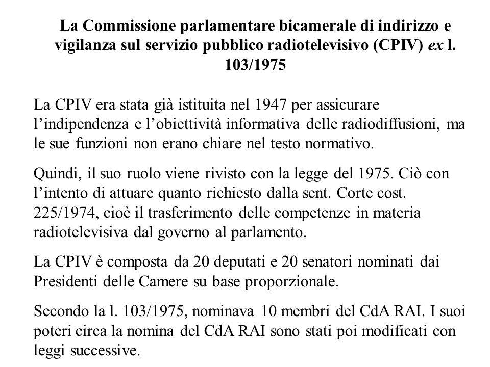 La Commissione parlamentare bicamerale di indirizzo e vigilanza sul servizio pubblico radiotelevisivo (CPIV) ex l. 103/1975 La CPIV era stata già isti