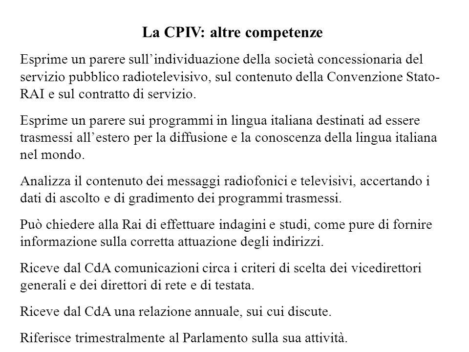 La CPIV: altre competenze Esprime un parere sullindividuazione della società concessionaria del servizio pubblico radiotelevisivo, sul contenuto della