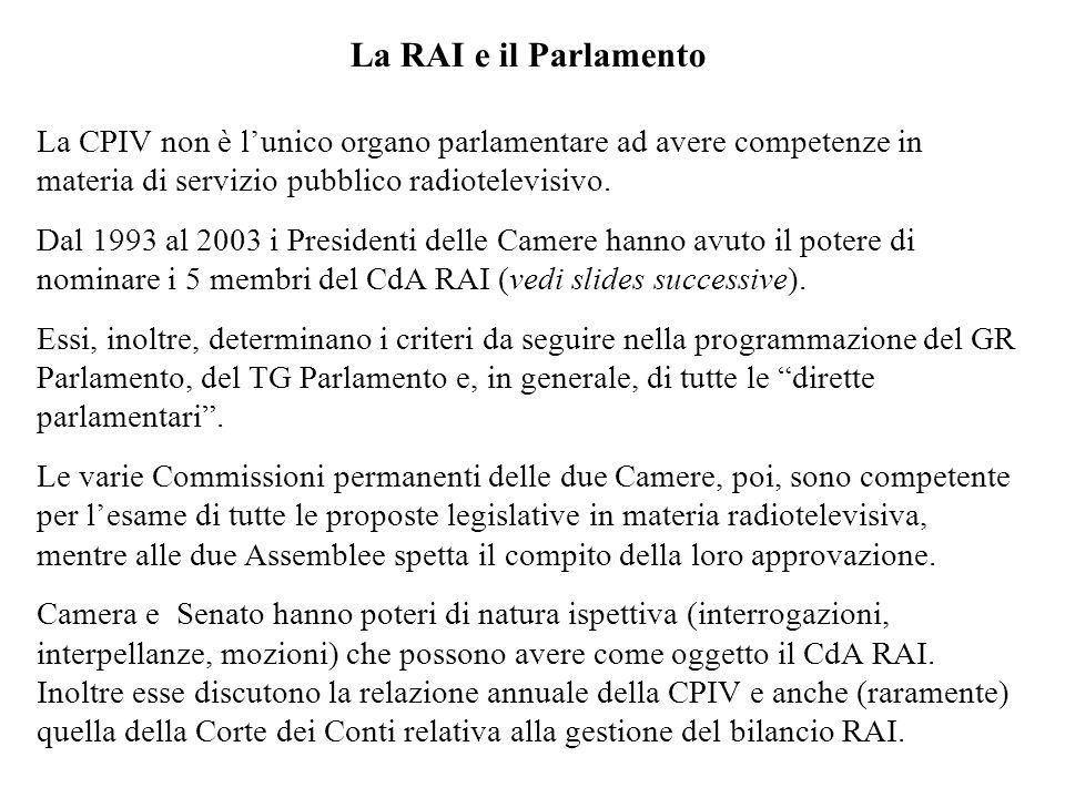 La RAI e il Parlamento La CPIV non è lunico organo parlamentare ad avere competenze in materia di servizio pubblico radiotelevisivo. Dal 1993 al 2003