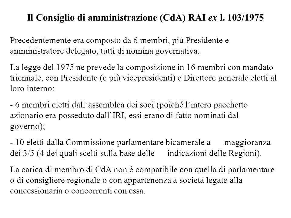 Il Consiglio di amministrazione (CdA) RAI ex l. 103/1975 Precedentemente era composto da 6 membri, più Presidente e amministratore delegato, tutti di