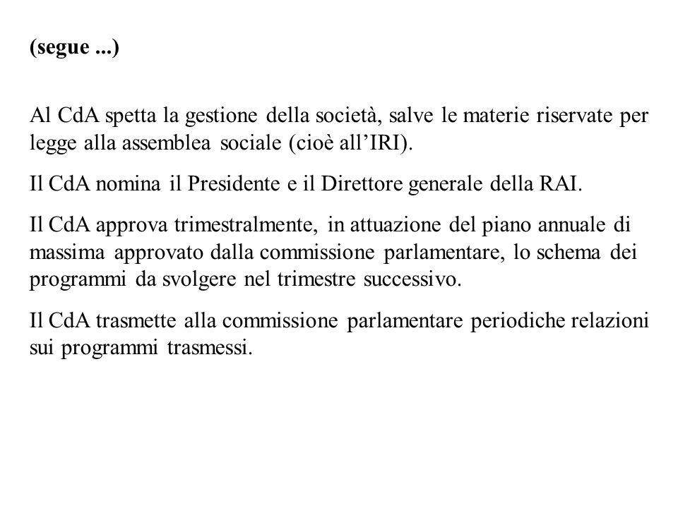 (segue...) Al CdA spetta la gestione della società, salve le materie riservate per legge alla assemblea sociale (cioè allIRI). Il CdA nomina il Presid