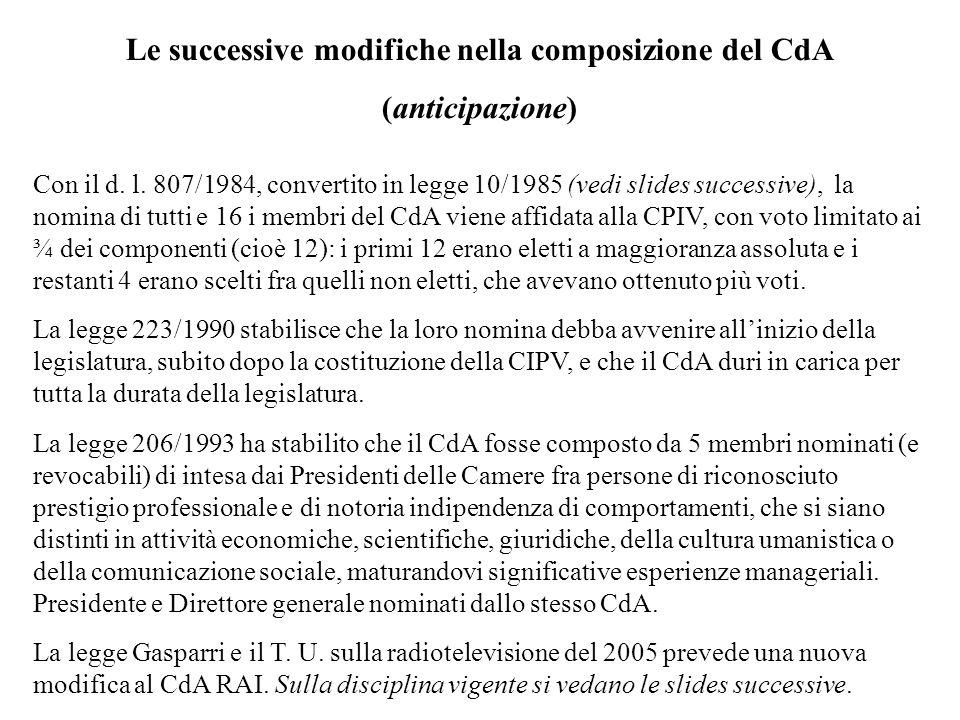 Le successive modifiche nella composizione del CdA (anticipazione) Con il d. l. 807/1984, convertito in legge 10/1985 (vedi slides successive), la nom