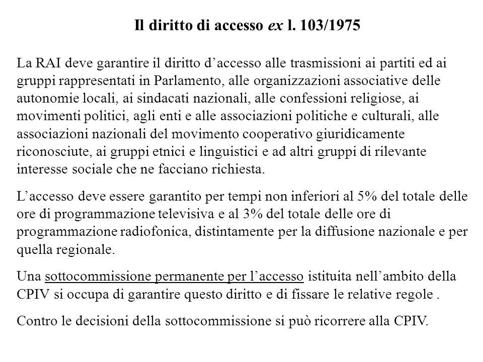 Il diritto di accesso ex l. 103/1975 La RAI deve garantire il diritto daccesso alle trasmissioni ai partiti ed ai gruppi rappresentati in Parlamento,