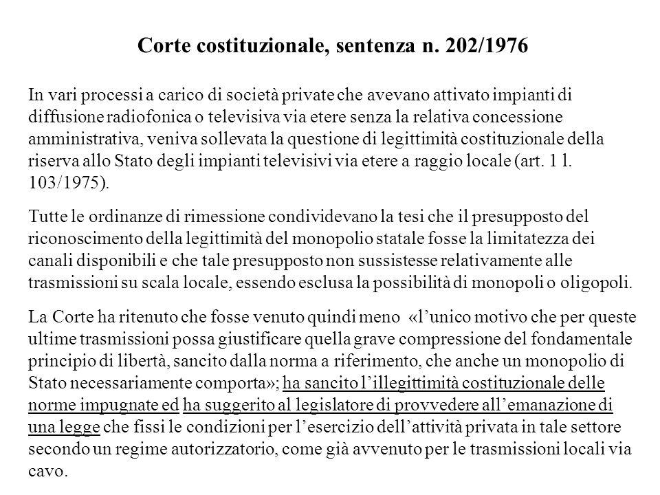 Corte costituzionale, sentenza n. 202/1976 In vari processi a carico di società private che avevano attivato impianti di diffusione radiofonica o tele
