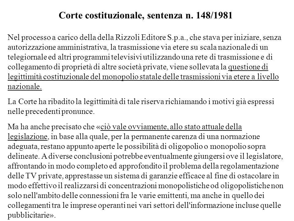 Corte costituzionale, sentenza n. 148/1981 Nel processo a carico della della Rizzoli Editore S.p.a., che stava per iniziare, senza autorizzazione ammi