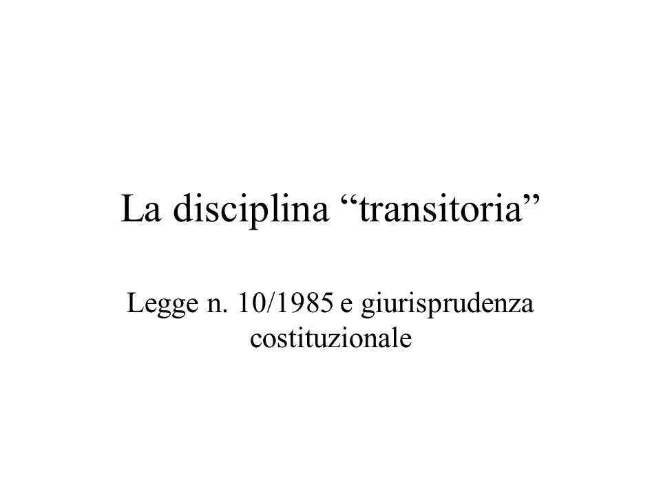 La disciplina transitoria Legge n. 10/1985 e giurisprudenza costituzionale