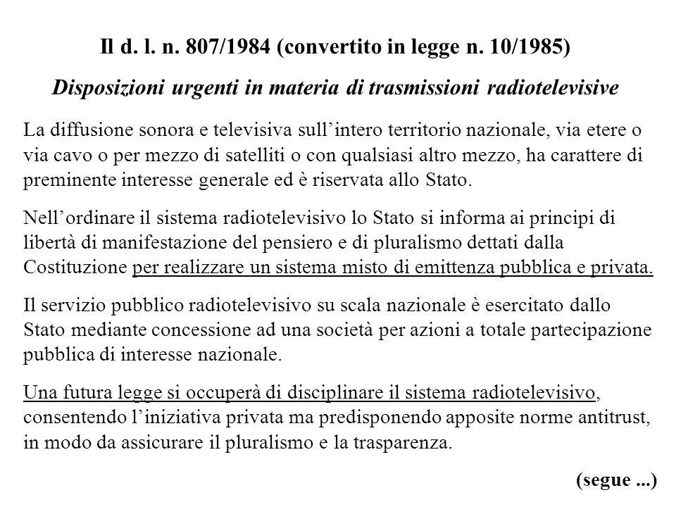 Il d. l. n. 807/1984 (convertito in legge n. 10/1985) Disposizioni urgenti in materia di trasmissioni radiotelevisive La diffusione sonora e televisiv
