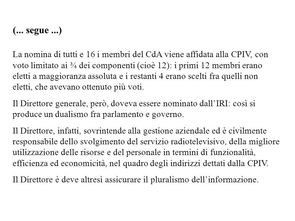 (... segue...) La nomina di tutti e 16 i membri del CdA viene affidata alla CPIV, con voto limitato ai ¾ dei componenti (cioè 12): i primi 12 membri e