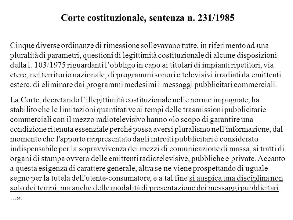 Corte costituzionale, sentenza n. 231/1985 Cinque diverse ordinanze di rimessione sollevavano tutte, in riferimento ad una pluralità di parametri, que