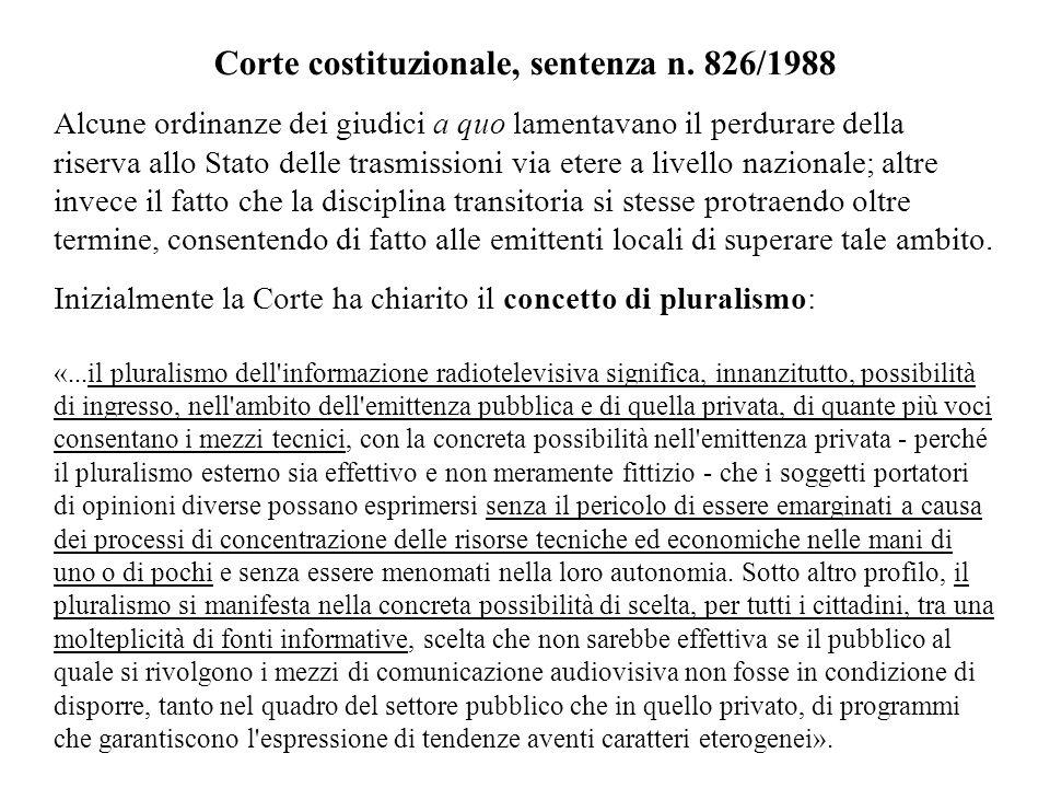 Corte costituzionale, sentenza n. 826/1988 Alcune ordinanze dei giudici a quo lamentavano il perdurare della riserva allo Stato delle trasmissioni via