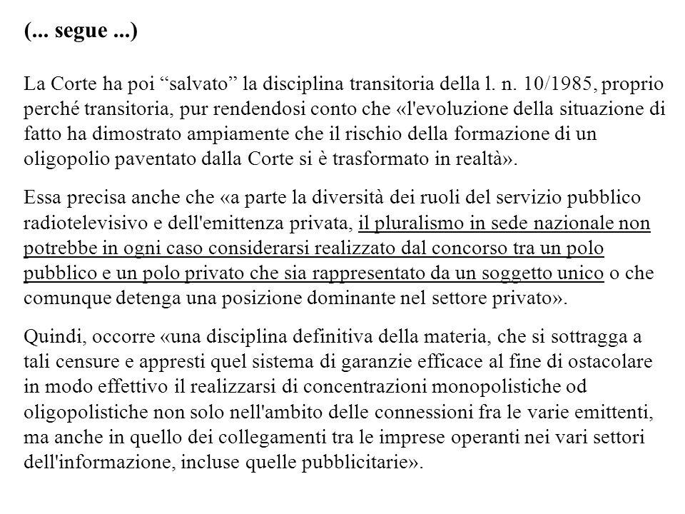 (... segue...) La Corte ha poi salvato la disciplina transitoria della l. n. 10/1985, proprio perché transitoria, pur rendendosi conto che «l'evoluzio