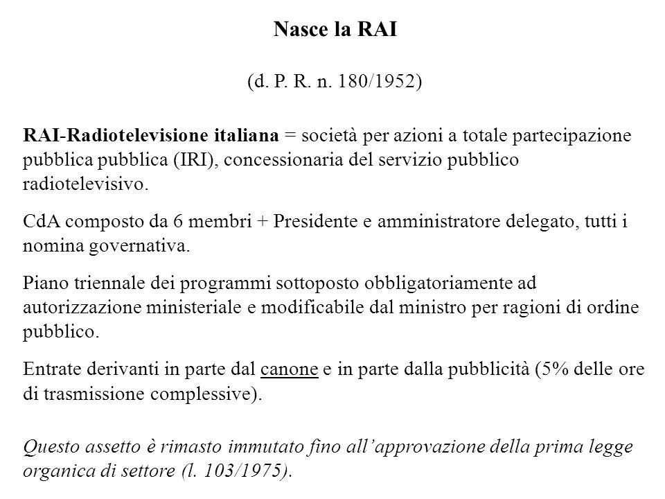 Nasce la RAI (d. P. R. n. 180/1952) RAI-Radiotelevisione italiana = società per azioni a totale partecipazione pubblica pubblica (IRI), concessionaria