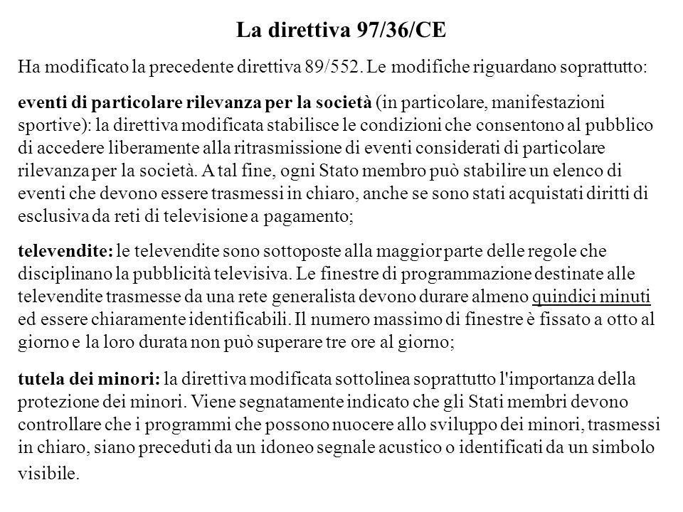 La direttiva 97/36/CE Ha modificato la precedente direttiva 89/552. Le modifiche riguardano soprattutto: eventi di particolare rilevanza per la societ