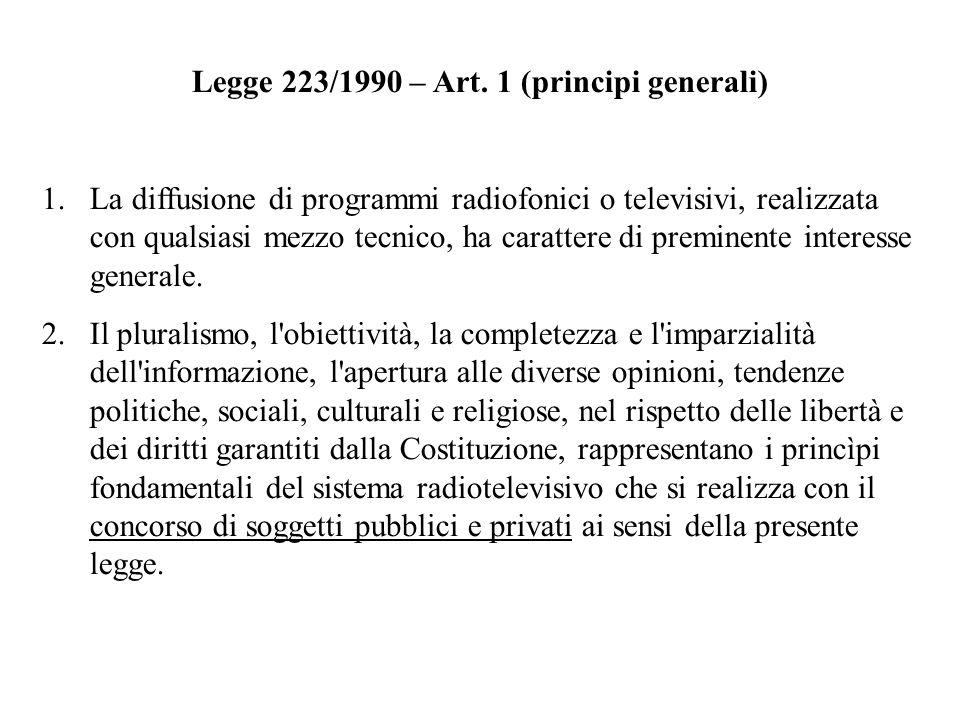 Legge 223/1990 – Art. 1 (principi generali) 1.La diffusione di programmi radiofonici o televisivi, realizzata con qualsiasi mezzo tecnico, ha caratter