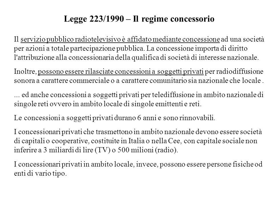 Legge 223/1990 – Il regime concessorio Il servizio pubblico radiotelevisivo è affidato mediante concessione ad una società per azioni a totale parteci