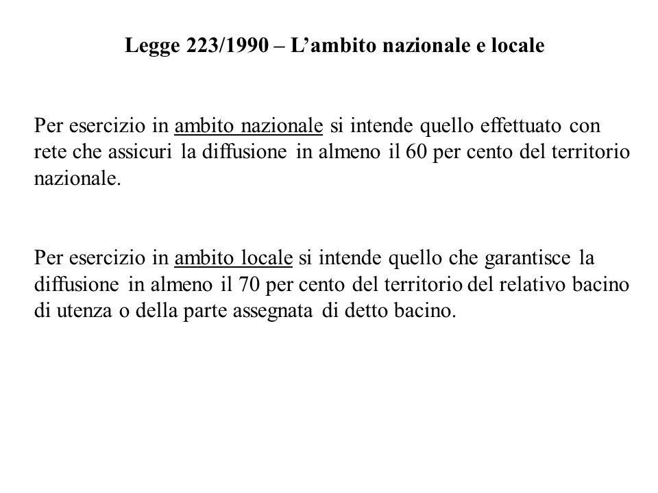 Legge 223/1990 – Lambito nazionale e locale Per esercizio in ambito nazionale si intende quello effettuato con rete che assicuri la diffusione in alme