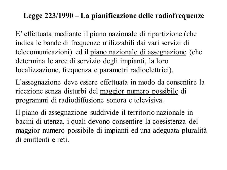 Legge 223/1990 – La pianificazione delle radiofrequenze E effettuata mediante il piano nazionale di ripartizione (che indica le bande di frequenze uti